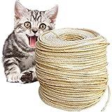 O'woda Natural Cuerda de Sisal Gatos 6mm, para Reemplazo Árbol Rascador para Gatos, Accesorios de Bricolaje Manualidades (Natural, 80M)