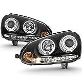 ACANII - For 2006-2009 Volkswagen GTI Jetta Rabbit [Halogen Model] LED Halo Black Housing Projector Headlights Headlamps