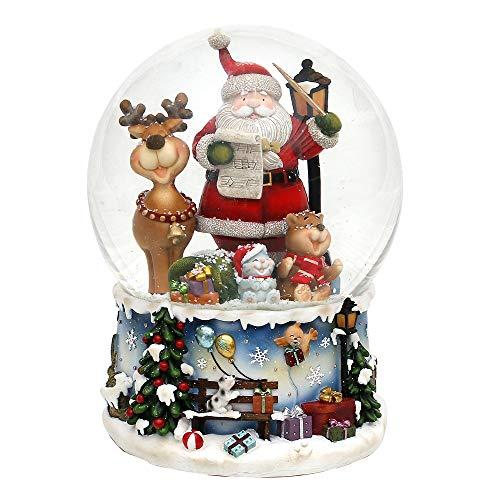 Dekohelden24 XXL Schneekugel, Santa mit lustigem Elch, mit Spielwerk, Melodie: Rudolph The red-Nosed Reindeer, Maße L/B/H: 15 x 15 x 20 cm Kugel Ø 15 cm.