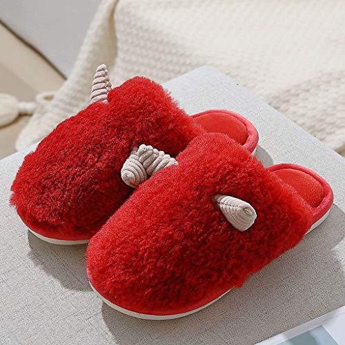 GFDFD Zapatillas de Mujer Lindo cálido Peluche Pareja Invierno casa Dormitorio Peludo...