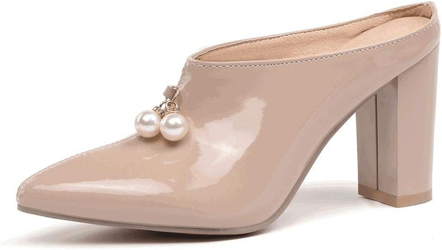 Beautiful - Fashion Women's Chunky Heel Mule shoes Pearl Backless Pointed Toe Backless Slides Slipper Slip On Dress Loafer shoes
