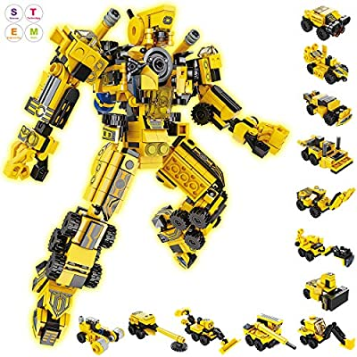 GARUNK STEM Robot Building Block for Kids, 669 PCS 25 in 1 City Project Robot Building Bricks Toys, Educational Construction Engineering Learning Toy Set for Boys Gift Age 5 6 7 8 9 10 11 12 Year Old