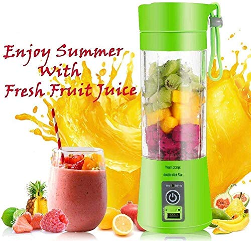 RAKITIC Portable USB Electric Blender Juicer Cup Smoothie Maker Electric Juice Maker Machine for Fruits and Vegetables 380ml Juicer Cup Bottle 4 Blade (Multicolour)