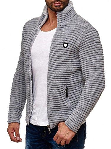 Red Bridge Herren Strickjacke Übergangsjacke Jacke Sweater Grobstrick M3631 (Grau, XL)