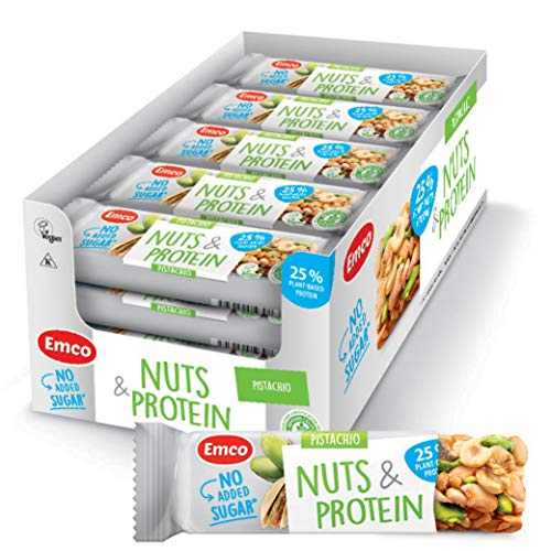 Pistachio Nuts & Protein Bars by Emco | Keto Snacks | Gluten Free, Low Carb, No Added Sugar, Vegan, Kosher | Plant-Based Protein Snack | 20 Individually Wrapped Snack Bars