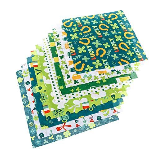 Amosfun 10 hojas de tela para costura, artesanía, patchwork, diseño de cuatro hojas