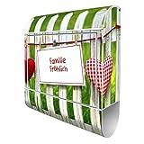 Banjado Design Briefkasten personalisiert mit Motiv WT Gartenzaun | Stahl pulverbeschichtet mit Zeitungsrolle | Größe 39x47x14cm, 2 Schlüssel, A4 Einwurf, inkl. Montagematerial