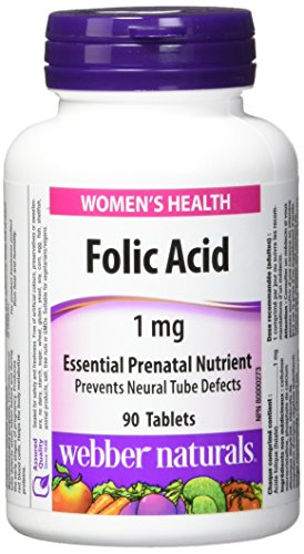 Webber Naturals Folic Acid with Vitamin C Tablets, 20mg
