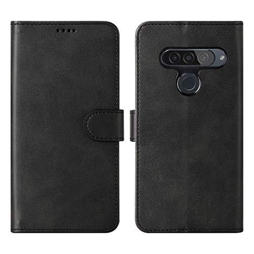 CRESEE LG G8S ThinQ Hülle, PU Leder Tasche mit 3 Kartenfächer, Magnetverschluss Schutzhülle Flip Cover Case Standfunktion Stoßfest Brieftasche für LG G8S ThinQ (Schwarz)