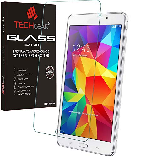 TECHGEAR Screen Protector for Galaxy Tab 4 7.0 Inch - GLASS Edition Genuine Tempered Glass Screen Protector Guard Cover Compatible with Samsung Galaxy Tab 4 7.0 (Model: SM-T230)