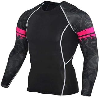 Black Yoga Shirt Mens Long Sleeve Dri Fit Undershirt Compression Top