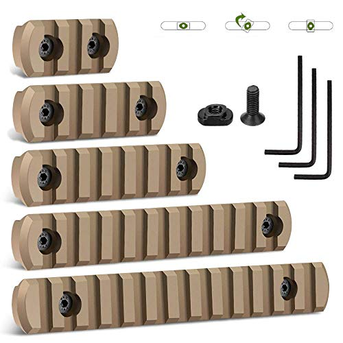 GROLENT Picatinny Rail Accessory Set Compatible with Mlok Systems, 3-5-7-11-13 Slots Aluminum Picatinny Rails Section with 11 T-Nuts, 11 Screws, 3 Allen Wrench - 5 Pack-Tan