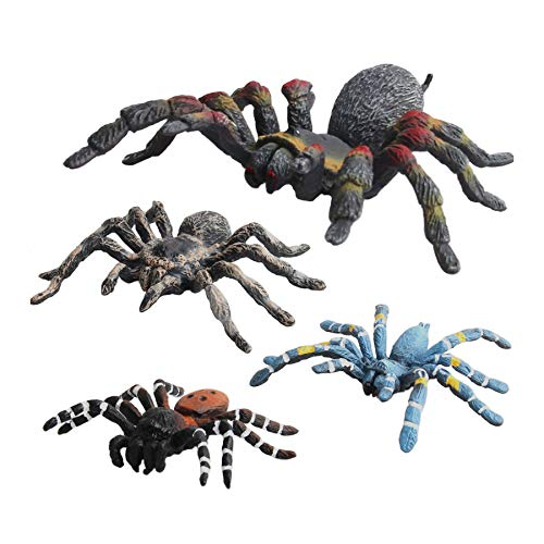 Warmtree Simulated Spider Model Realistic Spider Figurines Plastic Spider Action Figure for Collection Science Educational, Set of 4