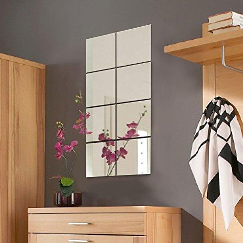 8er Set Spiegelfliesen Spiegelkachel Fliesenspiegel Spiegel je 20,5x20,5cm Wanddekoration Wandspiegel