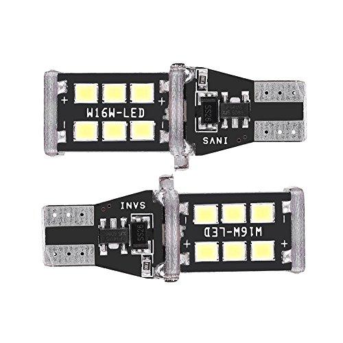 Qiilu 1 Paire 2835 Ampoules de Voiture Blanc LED Voiture Clignotant Signal de Frein Lumière de Recul Lampe Universel Canbus T15 W16W