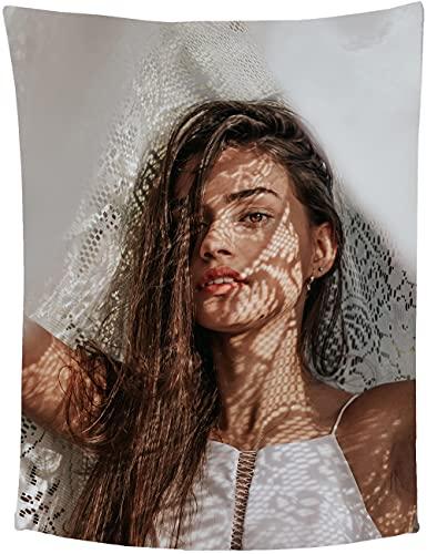 Personalisierte Fotodecke, Fotodecke mit Eigenem Foto Name Super Weich, Fotogeschenk für Jahrestag, Geburtstag, Hochzeit, 1 Foto 80cmX120cm
