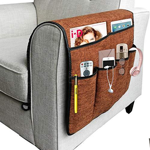 NGLVKE Groß Sofa Armlehnen Organizer, Couch Arm Chair Caddy mit 6 Taschen für Magazine, Bücher, TV-Fernbedienung, Handy, iPad (Kaffee)