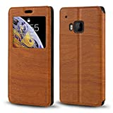 HTC One M9 Case, Wood Grain Leather Case with Card Holder and Window, Magnetic Flip Cover for HTC M9