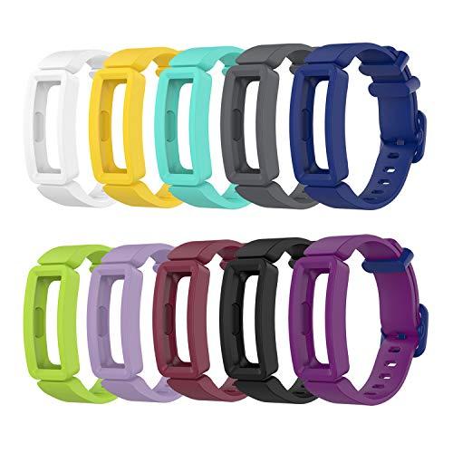 Tencloud Ersatz-Armbänder, kompatibel mit Fitbit Ace 2, weiches Silikon, Flexibles Armband für Activity Tracker von 11,7 cm - 18 cm, 10 Stück