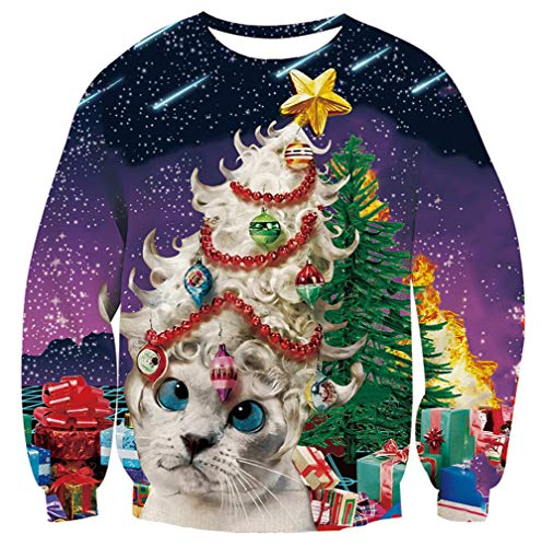 Men Women Ugly Christmas Sweater Purple Xmas Sweatshirt Funny Galaxy White Cat Decoration Tree Gifts Print Xmas Pullover Sweatshirt for Women Men