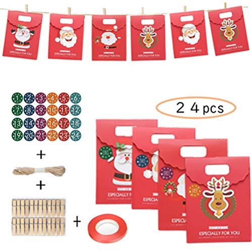 barsku 24 stks tassen, adventskalender chocolade geschenktas met 24 clips jute touw kerstversieringen