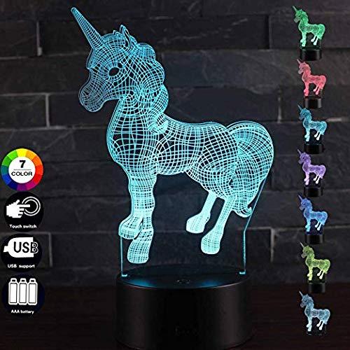3D LED de la lámpara de la noche lindo unicornio regalos niña princesa regalo RGB bombilla decorativa 7 colores de dibujos animados 3D lámpara visual