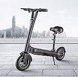 Patinete Eléctrico Plegable Adulto Bicicleta eléctrica de la ciudad de 10 pulgadas E-Scooter Offroad con asiento amortiguador Sirena Velocidad máxima 40 km / h, máximo 60 km de largo alcance,60KM