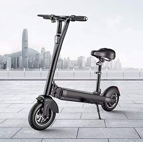 Langlin Patinete Eléctrico Plegable Adulto Bicicleta eléctrica de la Ciudad de 10 Pulgadas E-Scooter Offroad con Asiento Amortiguador Sirena Velocidad máxima 40 km/h, máximo 60 km de Largo Alcance