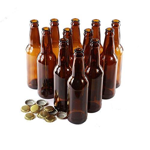 Bottiglie di vetro marrone con 12 tappi dorati, confezione da 12, Vetro, 330ml