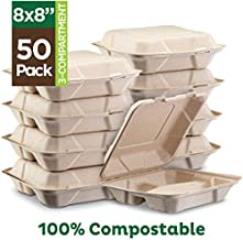 100% Compostable Clamshell Take Out Food Containers [8X8