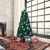 erddcbb Árbol de Navidad de Fibra de Vidrio 4 pies 1.2 m Árbol de Navidad Artificial con 35 LED Decoración de Copo de Nieve Star Topper Soporte de Metal Árbol Decorativo preiluminado para la Fiesta