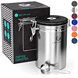 Coffee Canister - Coffee Gator Stainless Steel Coffee Container - Fresher Beans and Grounds for...