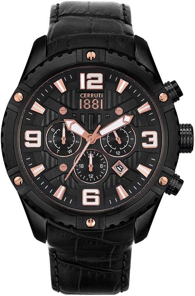 Cerruti 1881,orologio da uomo con cronografo,in acciaio e cinturino in vera pelle CRA20103