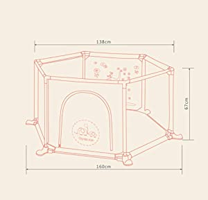 MJY Safety Fence Playpens Portable Indoors Outdoors Parks Child Safety Activity Center Fence for Babies Newborn Infant Toddler Kids Brown Pad Thickness