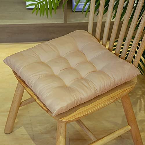 BANNAB Cojines para sillas Paquete de 3 Cojines para sillas Cojines Redondos para el Suelo Cojín de Tela de poliéster Puf Cojín para Asiento Ventana de Yoga Oficina en casa Mat-Beige ||Cuadrado
