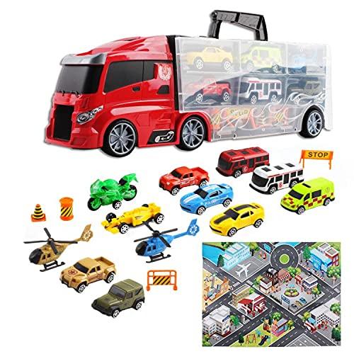 deAO Camión Transportador Maletín Portacoches Conjunto Playset Incluye Surtido Total de 12 Vehiculos y Accesorios