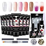 Morovan Poly Nail Gel Kit Nails Builder Gel Temperature Color Changing Nail Extension Gel Salon Trial for Starter and Professional All-in-One French Kit