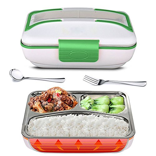 YOUDirect Electric Lunch Box, 110V Portable Bento Lunch Heater Heavy Duty Food Warmer with Removable 304 Stainless Steel Container for Home Office School, Spoon Fork Included (Green)