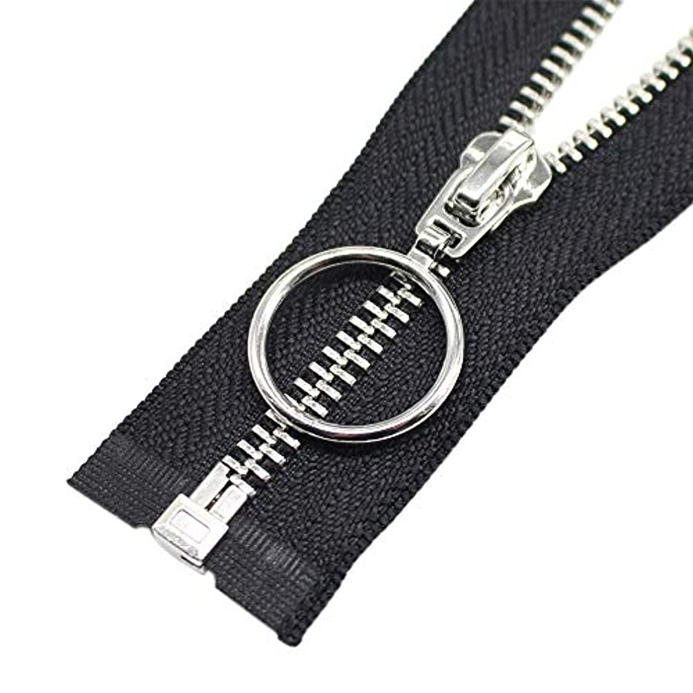 YaHoGa 2PCS 28 Inch #5 Silver Separating Jacket Zipper Y-Teeth Metal Zippers for Jackets Sewing Coats Crafts (28