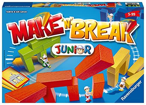 Ravensburger 22009 - Make 'n' Break Junior - Gesellschaftsspiel für die ganze Familie mit Bausteinen, Junior Version, Spiel für Erwachsene und Kinder ab 5 Jahren, für 2-5 Spieler