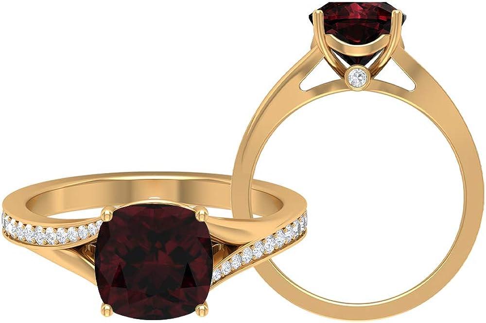 3.25 CT Solitaire Garnet Ring, D-VSSI Moissanite Gold Ring, 8 MM Cushion Cut Ring, Solitaire Ring with Side Stones, Split Shank Engagement Ring, 14K Gold
