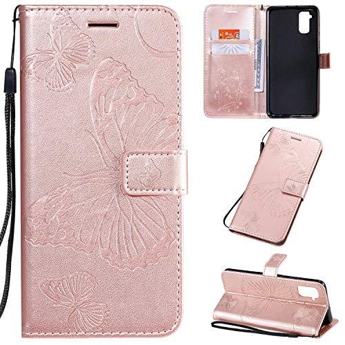 Vansdon Hülle für Samsung Galaxy S21, Klassisch Butterfly PU Ledercase Tasche Schutzhülle, [Ultra Slim][Card Slot][Faltbarer Ständer] Flip Wallet Case - Roségold