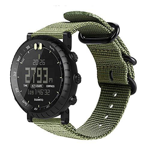Digit.Tail Nylon Sport Armband Wechselarmband Uhrenarmband Erstatzband Replacement Band mit Federstäben und Entfernungswerkzeug für Suunto Core, Suunto Essential Smartwatch (Olive)