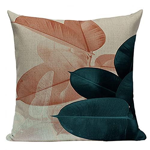 Funda Cojine sofá Decorar Funda Almohada Funda de cojín decorativa de plantas tropicales funda de almohada de lino de algodón con hojas de palma sofá de la oficina coche decoración hogar 45X45 CM