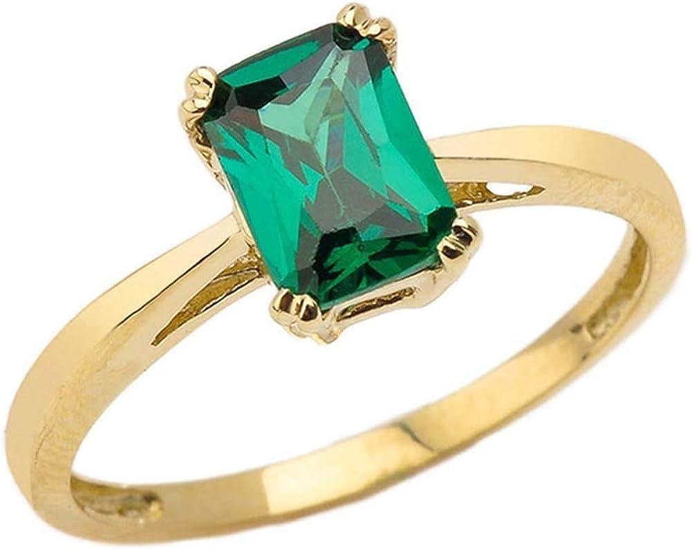 Fine 10k Yellow Gold 1 ct Emerald Cut May Birthstone Statement Ring