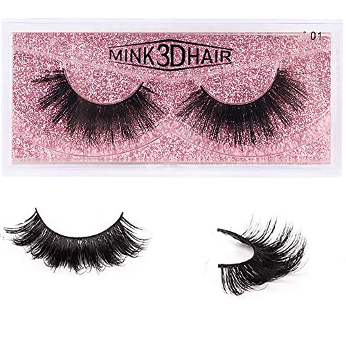 1 Pair Mink 3D False Eyelashes Handmade Thick Nature Fluffy Long Fake Eye Lashes Reusable for Daily Party Birthday Wedding (mt01)