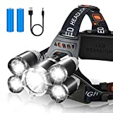 Headlamp Rechargeable, 5 LED Head Flashlight, Zoomable 18650 USB Rechargeable Headlight, Head Lamp IPX4 Waterproof,...