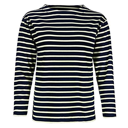 modAS Bretonisches Damen Fischerhemd Langarm Streifen Hemd blau/Ecru gestreift 2500D_25 Größe 44 (Damen) / 52 (Herren)