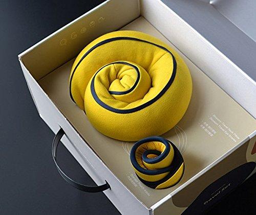 Reisekissen, U-Form Nackenkissen mit Tragetasche, waschbar, verstellbare Schnalle/könnte Befestigen des Gepäck und Rolle in a PU Aufbewahrungstasche (26* 26* 12cm) gelb