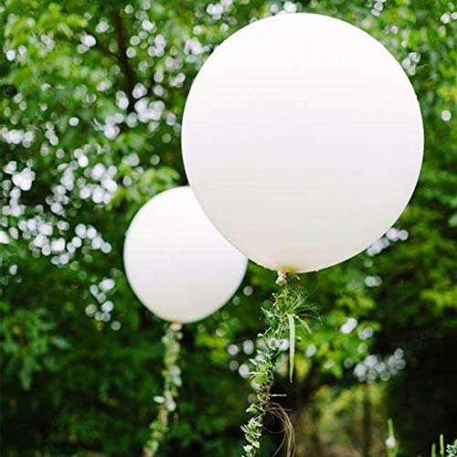 36 Inch Big White Balloons, Giant Latex Balloons, for Wedding Birthday Baby Shower Picnic Graduation Anniversary Celebration Party Decorations, 6 Pack.